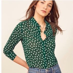 Reformation violet green white floral button down